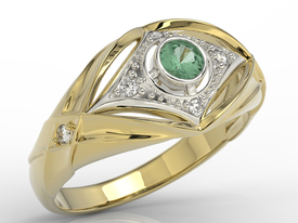 Diamonds & emerald 14ct yellow & white gold ring AP-9908ZB
