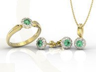Diamonds, emerald set: ring, earrings and pendant, yellow and white gold AP-42ZB