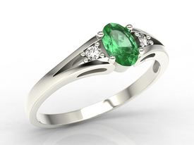 Diamonds & emerald, white gold ring JP-22B