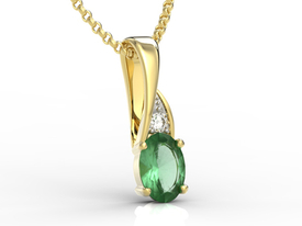 Diamonds & emeralde 14ct yellow gold pendant APW-60Z-R
