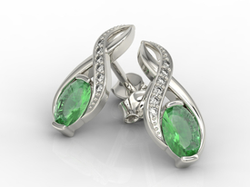 Diamonds & emeralds 14 ct white gold earrings APK-69B  on a stick