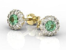 Diamonds & emeralds 14 ct yellow & white gold earrings APK-42ZB