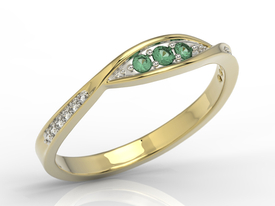 Diamonds & emeralds 14ct gold ring AP-97Z-R