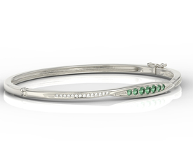 Diamonds & emeralds 14ct white gold bracelet  APBr-97B
