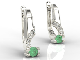 Diamonds & emeralds 14ct white gold earrings JPK-66B