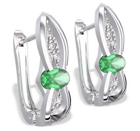 Diamonds & emeralds 14ct white gold earrings LPK-39B