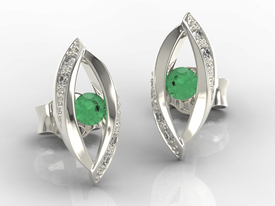 Diamonds & emeralds 14ct white gold earrings LPK-60B