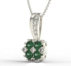 Diamonds & emeralds 14ct white gold pendant JPW-56B