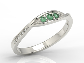 Diamonds & emeralds 14ct white gold ring AP-97B
