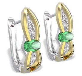 Diamonds & emeralds 14ct white & yellow gold earrings LPK-39BZ