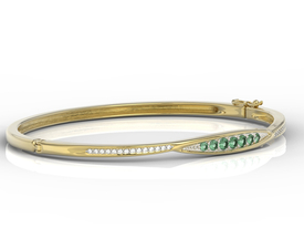Diamonds & emeralds 14ct yellow gold bracelet  APBr-97Z-R