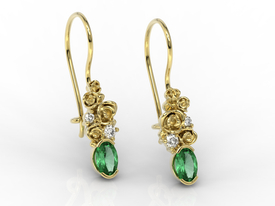 Diamonds & emeralds, 14ct yellow gold earrings APK-39Z