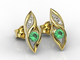 Diamonds & emeralds 14ct yellow gold earrings APK-51Z-R