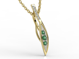 Diamonds & emeralds 14ct yellow gold pendant APW-97Z-R