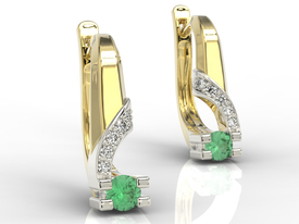 Diamonds & emeralds 14ct yellow & white gold earrings JPK-66ZB