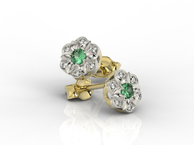 Diamonds & emeralds 14ct yellow & white gold earrings JPK-87ZB