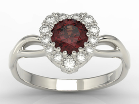 Diamonds & garnet 14 ct white gold ring in the shape of a heard AP-77B