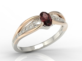 Diamonds & garnet, 14 ct white & pink gold engagement ring LP-39BP