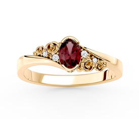 Diamonds & garnet 14 ct  yellow gold ring AP-39Z  0,03 ct