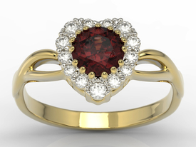 Diamonds & garnet 14 ct yellow gold ring in the shape of a heard AP-77Z
