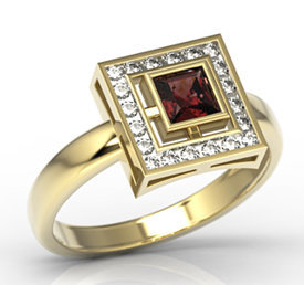 Diamonds & garnet 14ct gold LP-68Z