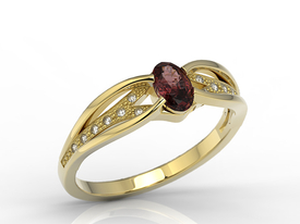 Diamonds & garnet 14ct gold ring LP-39Z