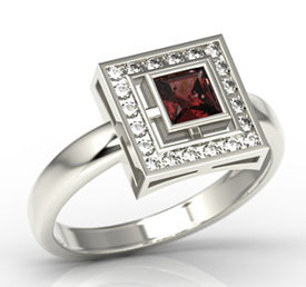 Diamonds & garnet 14ct white gold LP-68B