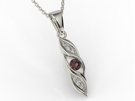 Diamonds & garnet 14ct white gold pendant APW-51B