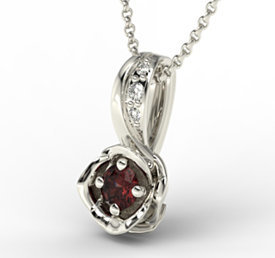 Diamonds & garnet 14ct white gold pendant LPW-4221B