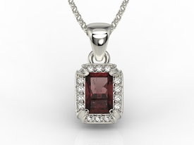 Diamonds & garnet 14ct white gold pendant LPW-84B