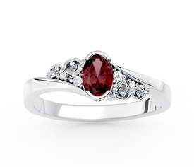 Diamonds & garnet 14ct  white gold ring AP-39B  0,03 ct
