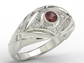 Diamonds & garnet 14ct white gold ring AP-9908B