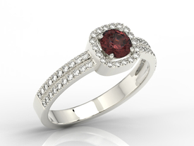 Diamonds & garnet 14ct white gold ring BP-52B