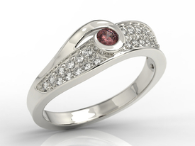 Diamonds & garnet 14ct white gold ring JP-53B