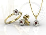 Diamonds & garnet 14ct white & yellow gold ring JP-87ZB
