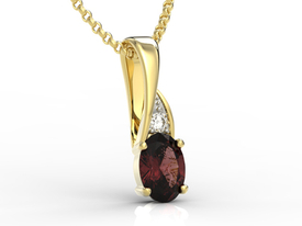 Diamonds & garnet 14ct yellow gold pendant APW-60Z-R