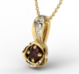 Diamonds & garnet 14ct yellow gold pendant LPW-4221Z-R