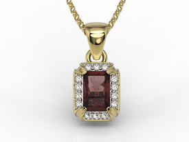 Diamonds & garnet 14ct yellow gold pendant LPW-84Z