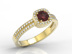 Diamonds & garnet 14ct yellow gold ring BP-52Z