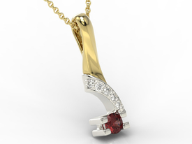 Diamonds & garnet 14ct yellow & white gold pendant JPW-66ZB