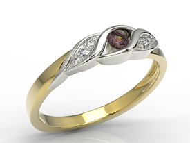 Diamonds & garnet 14ct yellow & white gold ring AP-51ZB