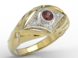 Diamonds & garnet 14ct yellow & white gold ring AP-9908ZB