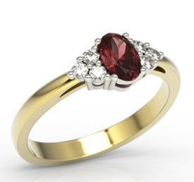 Diamonds & garnet 14ct yellow & white gold ring LP-88ZB