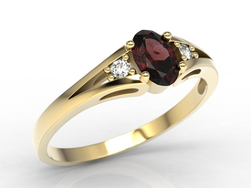 Diamonds & garnet, yellow gold ring JP-22Z