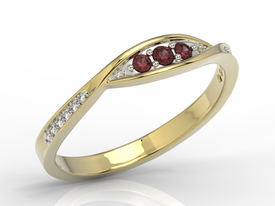 Diamonds & garnets 14ct gold ring AP-97Z-R
