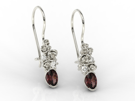 Diamonds & garnets 14ct  white gold earrings APK-39B