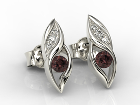 Diamonds & garnets 14ct white gold earrings APK-51B