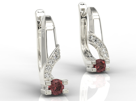 Diamonds & garnets 14ct white gold earrings JPK-66B