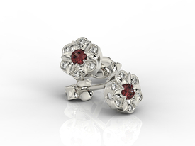 Diamonds & garnets 14ct white gold earrings JPK-87B