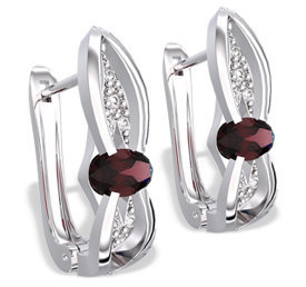 Diamonds & garnets 14ct white gold earrings LPK-39B